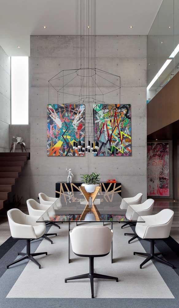 Mesa de jantar de vidro com oito lugares para a sala moderna