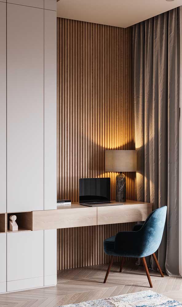 Outro bom lugar para posicionar o abajur é sobre a escrivaninha de trabalho e estudos do quarto