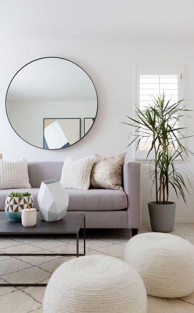 Espelho grande redondo para a parede do sofá