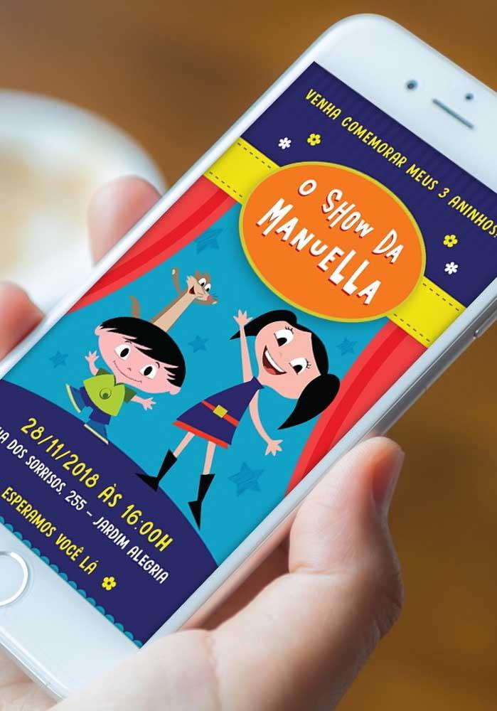 O convite Show da Luna pode ser enviado pelo whatsapp para os convidados da festa.