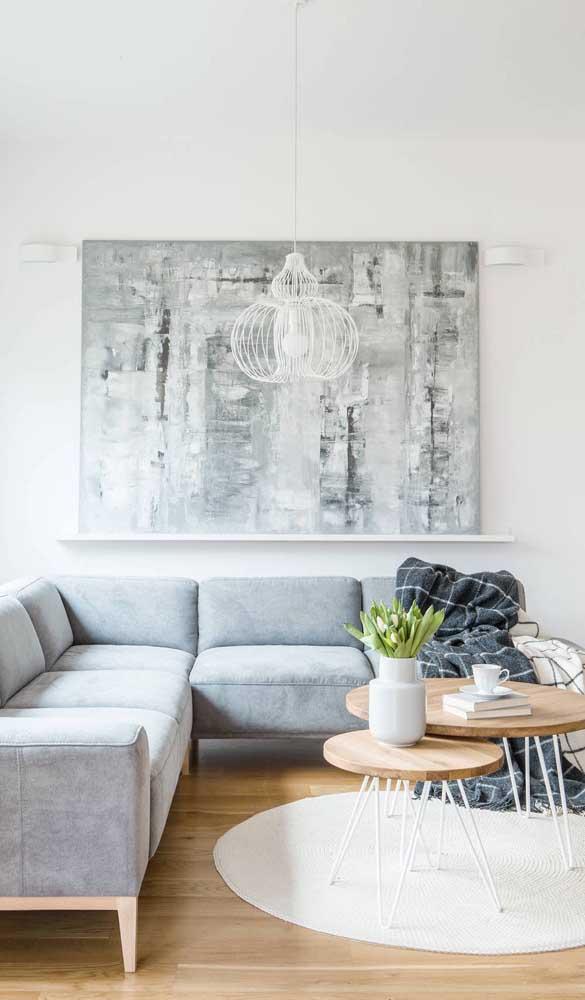 Outro lindo modelo de pendente aramado branco, dessa vez para a sala de estar
