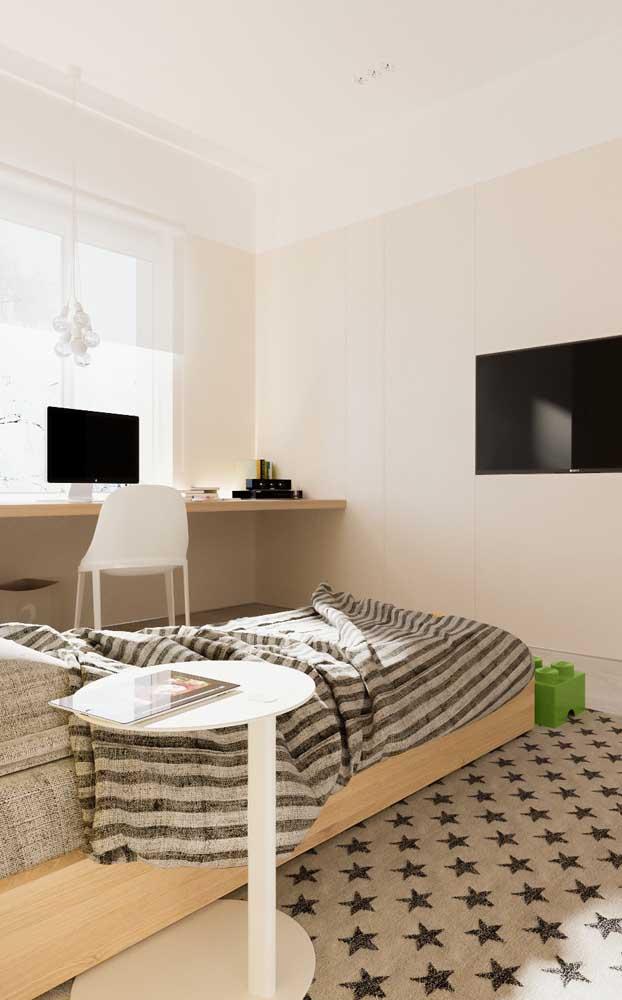 A escrivaninha suspensa garante um quarto de solteiro mais clean, além de ocupar menos espaço