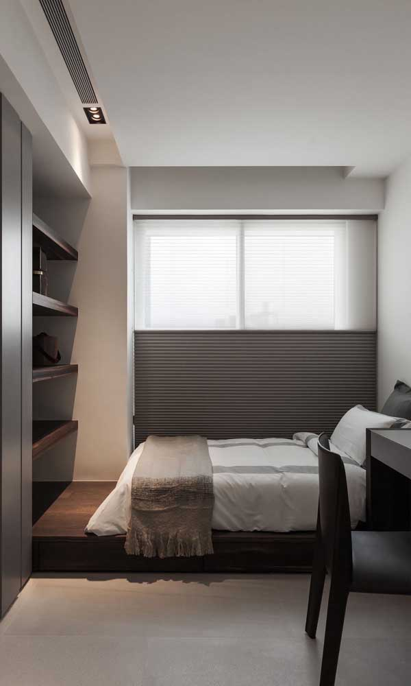 Decoração clean e elegante para o quarto de solteiro