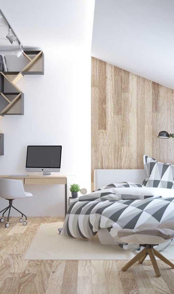 Quarto de solteiro com escrivaninha: modelo perfeito para quem precisa estudar e trabalhar no quarto