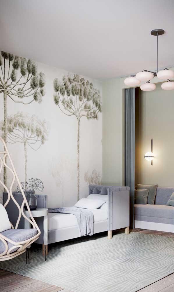 Quarto de solteiro decorado com inspiração da natureza no papel de parede