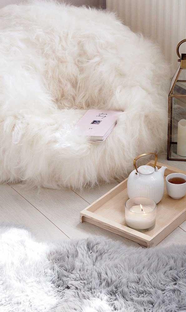 Puff de pelúcia: perfeito para as decorações de estilo escandinavo