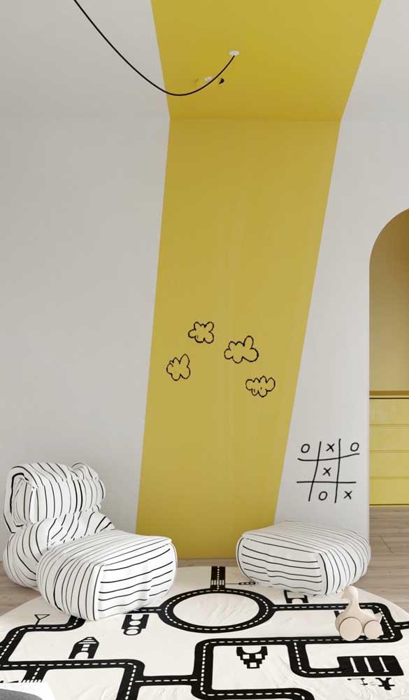 Uma proposta diferenciada e super charmosa de uso de puffs para o quarto infantil
