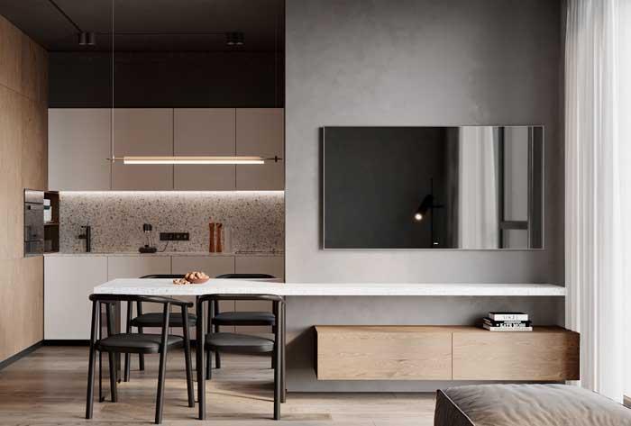 Divisória de gesso para demarcar o espaço entre a sala e a cozinha
