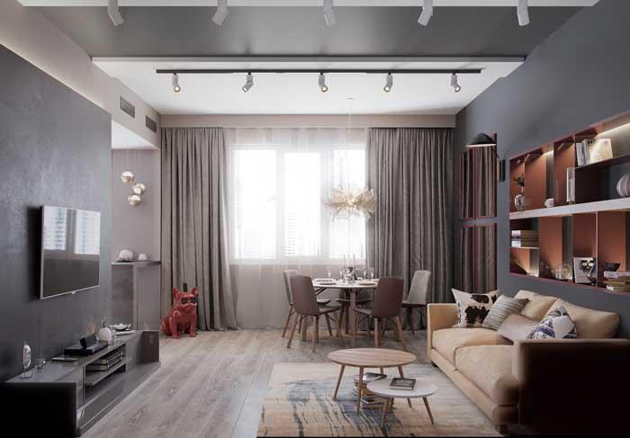 Sala de estar com teto rebaixado e estante embutida de gesso
