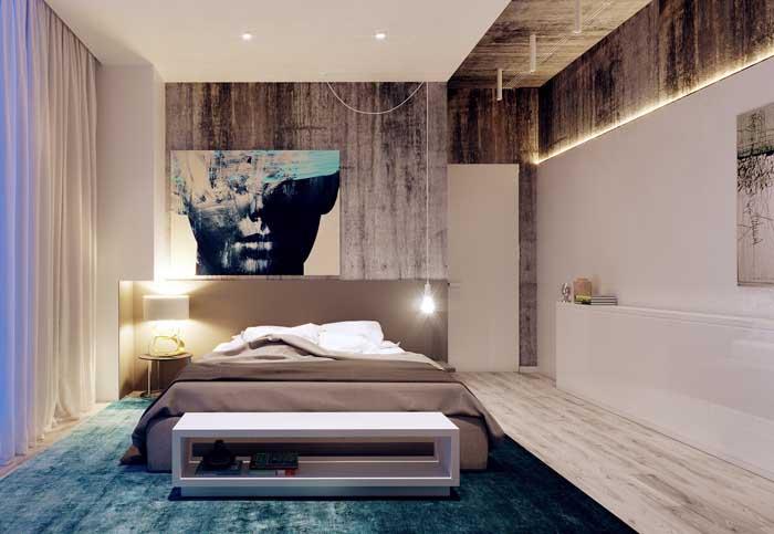 Painel de gesso para destacar uma das paredes do quarto e também aplicar a iluminação embutida