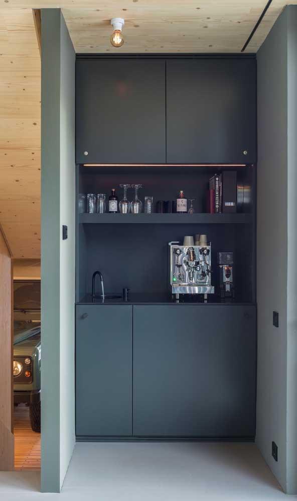 Home bar moderno e planejado com direito a cantinho do café incluso