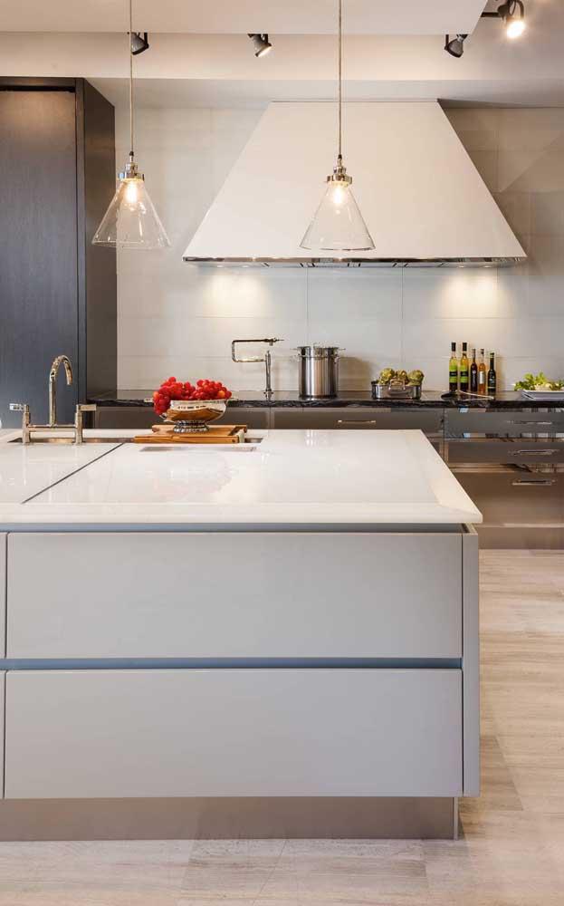 Bancada de vidro branco para a ilha da cozinha gourmet