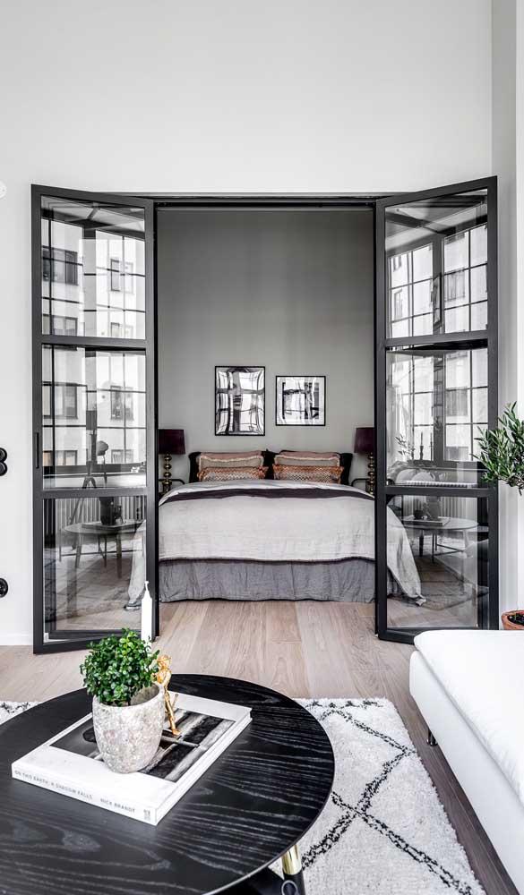 Inspiração maravilhosa de uso da porta francesa no quarto
