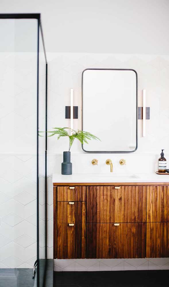 Luminárias retangulares para a lateral do espelho