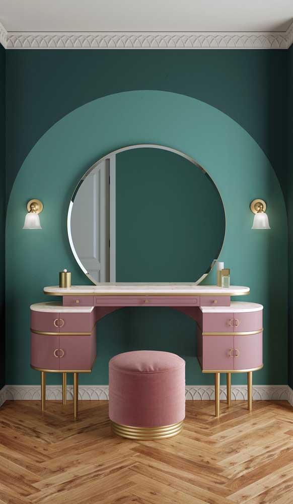 Linda inspiração de espelho bisotado redondo para o quarto