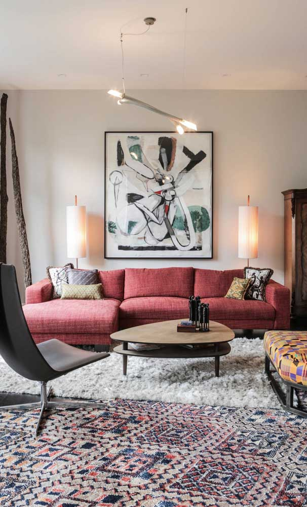 Sofá retrô de 3 lugares com chaise: conforto, beleza e funcionalidade