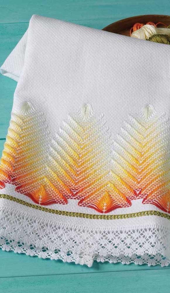 Praticamente uma obra de arte em crochê no pano de prato. Linda inspiração!