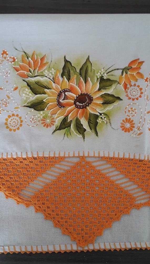 Os barrados de crochê maiores também são uma linda opção para os panos de prato
