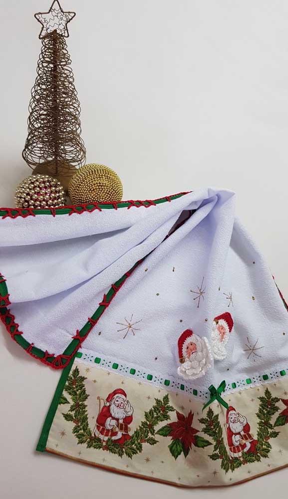 Inspiração natalina para o bico de crochê do pano de prato