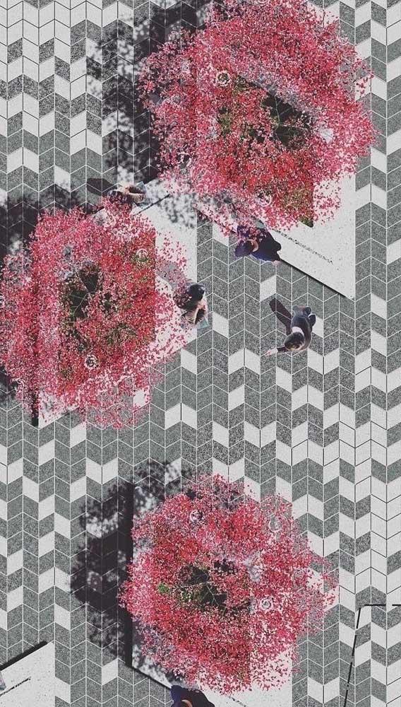A paginação em espinha de peixe foi valorizada pelo uso das duas cores do piso intertravado