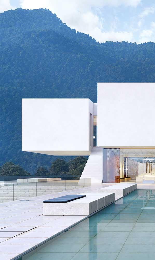 A casa contemporânea apostou no uso do piso de pedra mineira branca