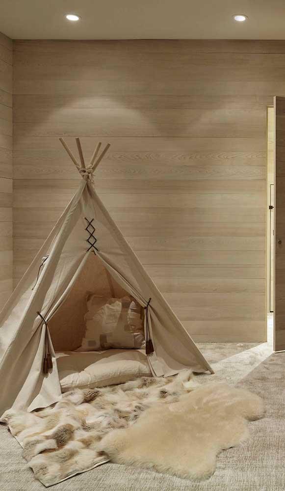 Cabana infantil em tons crus e naturais