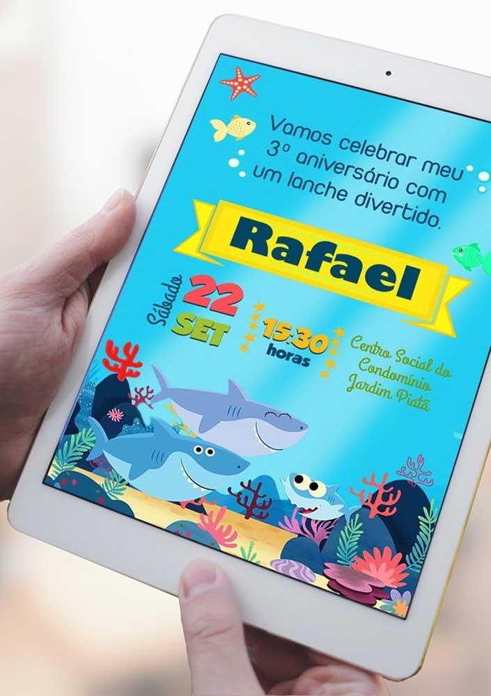 Já pensou no convite Baby Shark? Você pode enviar um modelo virtual para os convidados.