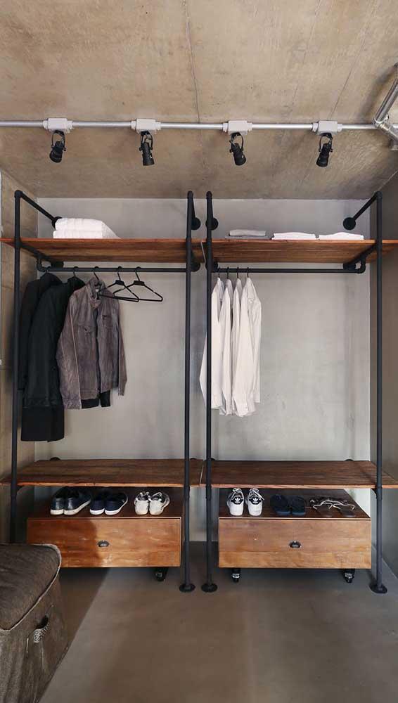 Closet masculino em estilo industrial. Uma ótima pedida para projetos DIY