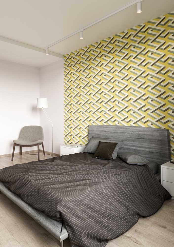 Que tal apostar no quarto de casal amarelo e cinza?