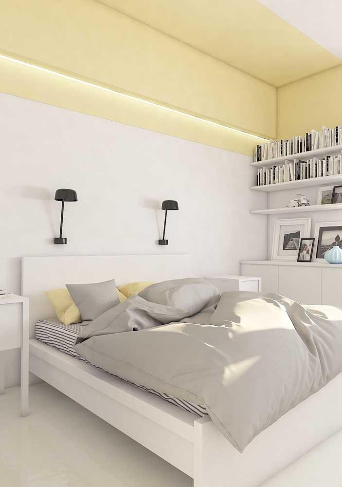 O que acha de escolher uma decoração amarelo e cinza para seu quarto?