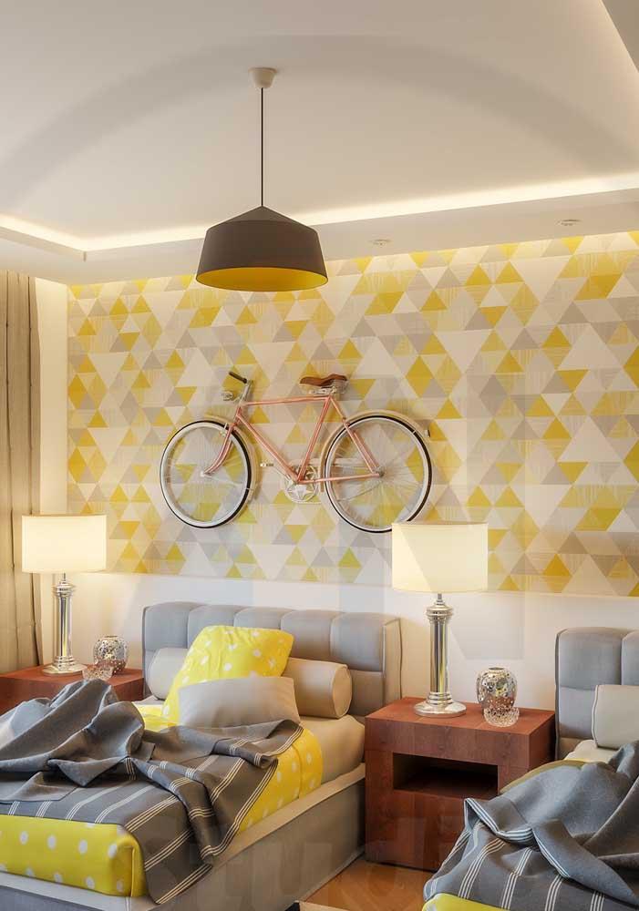 Os desenhos geométricos são muito usados em decoração de quartos, mas você deve escolher um tom que combine com o resto da decoração.