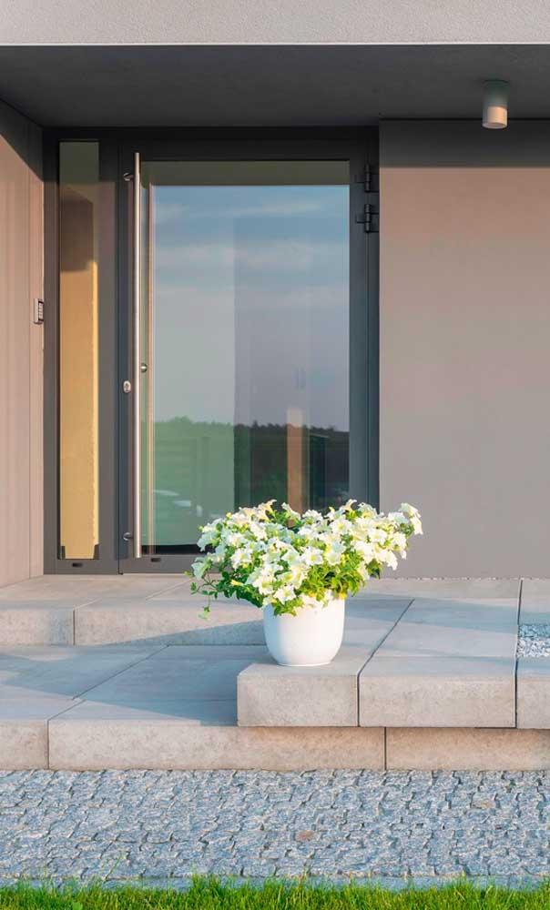 Que tal uma porta de alumínio pivotante com vidro na entrada da casa? Um luxo!