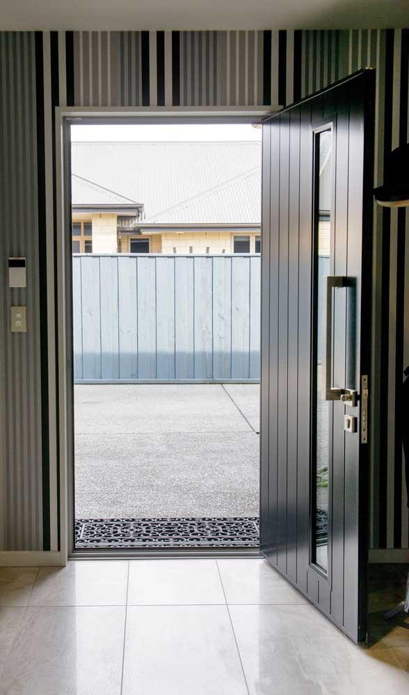 Porta de alumínio de abertura simples para entrada da casa