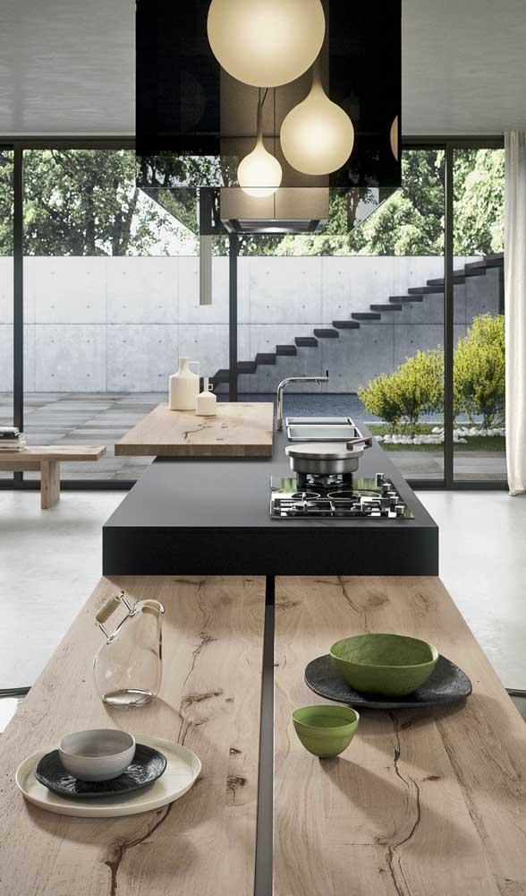 Uma cozinha entre o rústico e o moderno