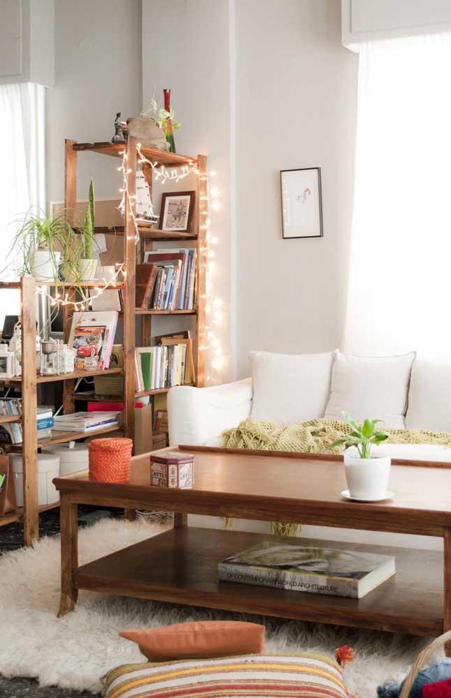 Aqui, as luzes de natal contornam a estante da sala de estar
