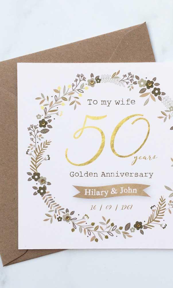 Convite simples para a festa de bodas de ouro