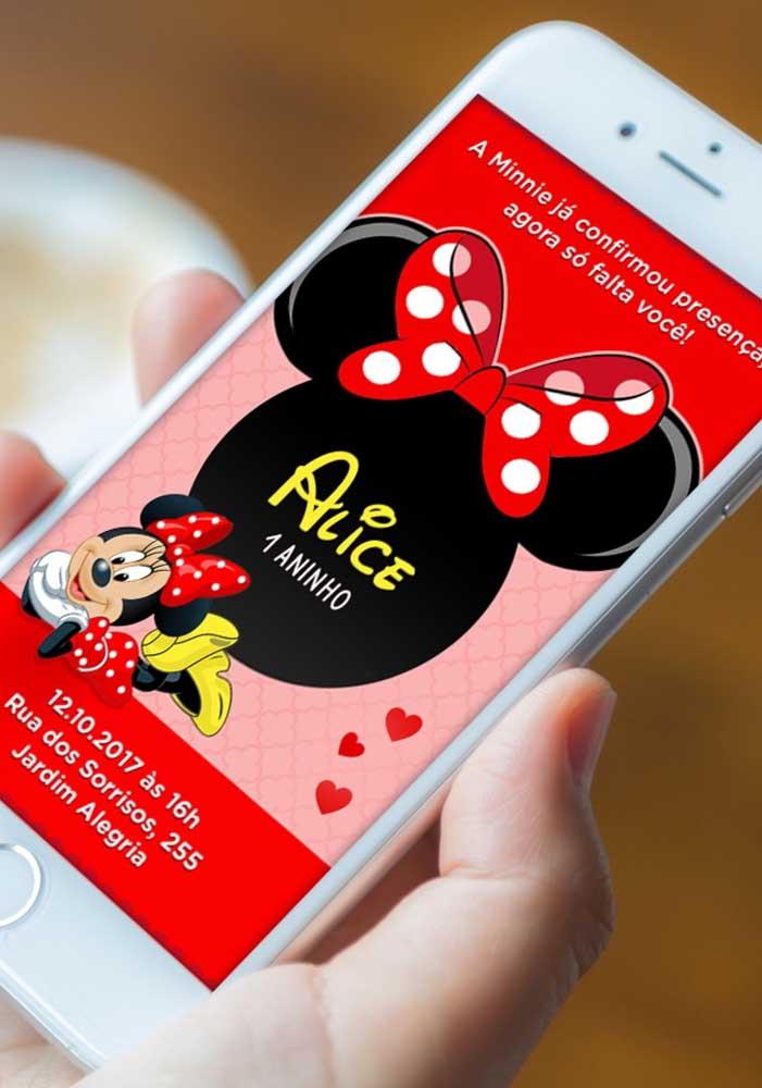 Que tal fazer um convite Minnie vermelha digital e enviar pelo whatsapp para os seus convidados?