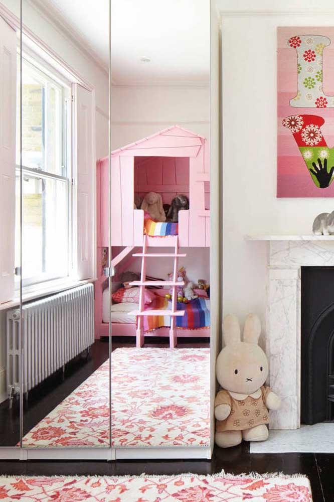 Guarda-roupa com espelho 2 portas para o quarto infantil