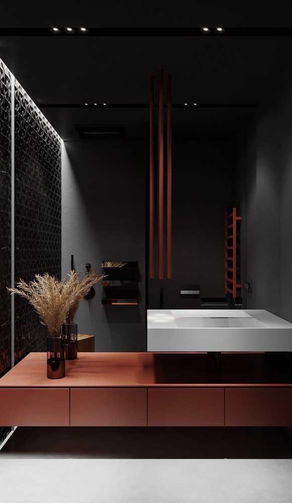 Um pouco de cor para o banheiro preto