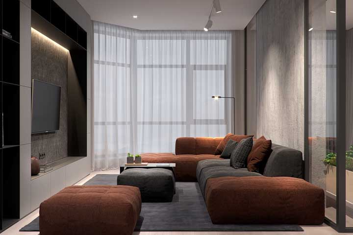 Sala de estar moderna e acolhedora na medida