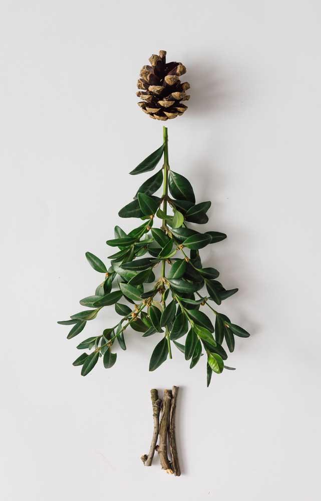 Que lindo! Aqui, o próprio galho forma o desenho da árvore de natal de parede