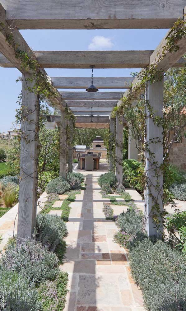 Lavandas forram o chão desse caramanchão e trazem um clima provençal para a arquitetura da casa