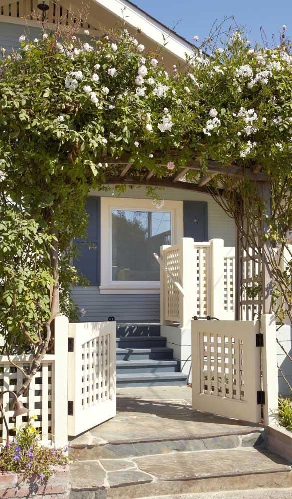 Caramanchão com rosas trepadeiras e um portãozinho de madeira super charmoso