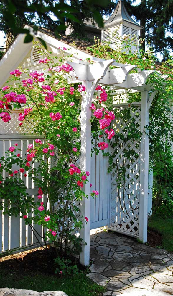 Pequeno caramanchão construído na entrada da casa, servindo como cobertura para o portão