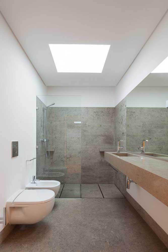 Projeto de banheiro clean e moderno com vaso sanitário e bidê suspensos