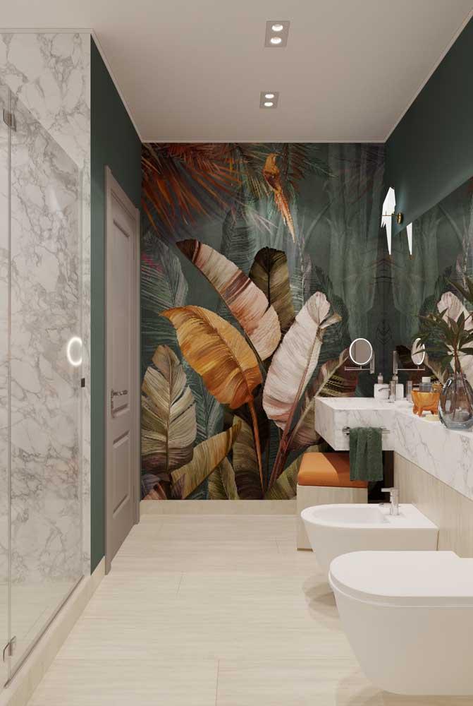 Banheiro moderno com bidê suspenso