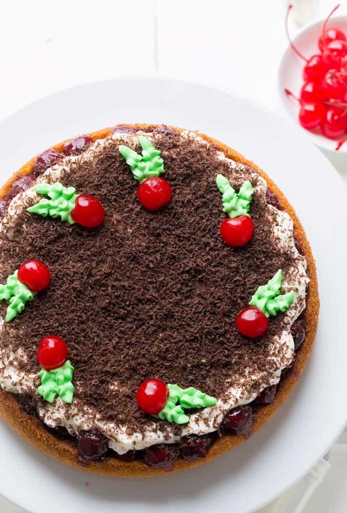 As cerejas são outro símbolo marcante do natal e que super combinam com bolos