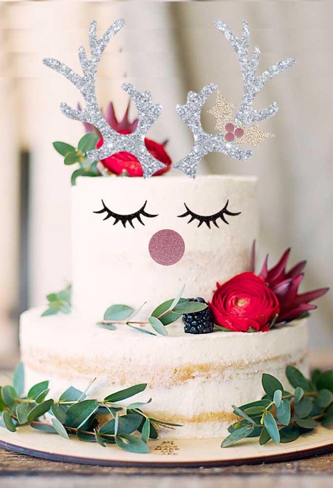 Bolo de natal com rena inspirado no famoso bolos de unicórnio