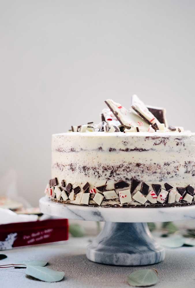 Tabletes de chocolate sobre o bolo de natal: quem resiste?