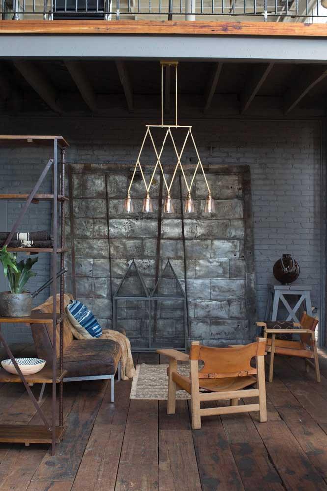 Lustre moderno e simples para completar a decoração e a iluminação da sala de estar